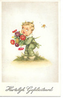 Little Boy With Flowers, Bumble Bee, Garçon Avec Fleurs, Abeille, Junge Mit Blumen, Biene / Signed By Niko - Andere