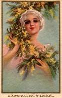 Belle Illustrée Style CORBELLA : Femme Aux Mimosas - Femmes