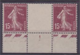 Semeuse N° 189 15c Brun Lilas Bloc De 2 Bord De Feuille Avec Interpanneau  Neuf ** - 1906-38 Sower - Cameo