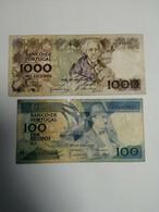 100 + 1000 Escudos Cem Mil 1988 / 1986 Portugal Note Banknote - Portugal