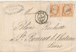 FRANCE - PAIRE N°16 SUR LETTRE OBLITEREE PC 1818 AVEC CAD LYON DU 8 AOUT 1854? - COTE MINI : 75€ - 1849-1876: Periodo Clásico