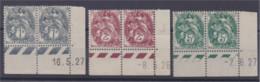 Type Blanc 3 Paires Avec Coins Datés 1c Gris, 2c Brun Rouge Et 5c Vert Neuf ** - 1900-29 Blanc