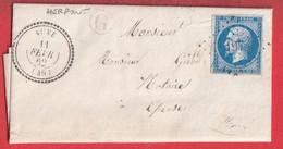 N°14 PC 197 AUVE MARNE CAD TYPE 22 BOITE RURALE G HERPONT POUR EPENSE - 1849-1876: Klassieke Periode