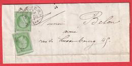 N°20 X2 PARIS ETOILE 3 PL DE LA MADELEINE 1867 POUR PARIS - 1849-1876: Classic Period