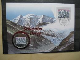 Schweiz Numisbrief Piz Palü Mit 1000 Francos Münze Guinea (1912) - Briefe U. Dokumente