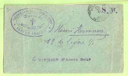 """Brief Stempel PMB Op 25/6/15 Naar """" 4 DIVISION D'Armee Belge"""" Met Stempel MOT DU SOLDAT / SERVICE GRATUIT + Verso (1122) - Belgisch Leger"""