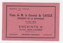 37 - TOURS -  MAIRIE - CARTON D'INVITATION  - VISITE DU GENERAL DE GAULLE - 9 MAI 1959 - Tours