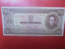 BOLIVIE 5 BOLIVIANOS 1945 Circuler - Bolivien