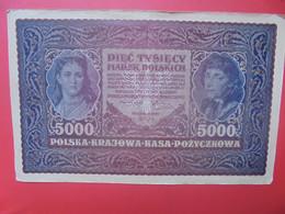POLOGNE 5000 MAREK 1920 Circuler (ATTENTION LES GRANDS BILLETS PLIER EN 2 POUR L'EXPEDITION ) - Polen