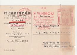 Polen Karte Mit Absender Freistempel Patentanwalt F Winnicki  Poznan Posen 1938 - Covers & Documents