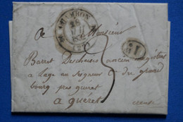 V7 FRANCE BELLE LETTRE 1832 CHAMBON POUR GUERET+TAXE DECIMALE+ AFFRANCH. INTERESSANT - 1801-1848: Voorlopers XIX