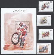 NW0412 2003 SOMALIA SOOMAALIYA TRANSPORT SPORT MOTORCYCLING 1SET+1BL MNH - Motorfietsen