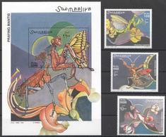 NW1416 2002 SOMALIA SOOMAALIYA INSECTS PRAYING MANTIS #972-974+BL96 MICHEL 30 EURO MNH - Other