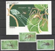 NW1417 2002 SOMALIA SOOMAALIYA INSECTS SPIDERS FAUNA #991-993+BL98 MICHEL 25 EURO MNH - Spiders