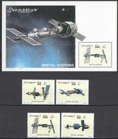 NW1423 2002 SOMALIA SOOMAALIYA SPACE SPATIAL STATIONS #950-953+BL92 MICHEL 32 EURO MNH - Other