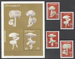 NW1425 ! VERY LIMITED STOCK 2002 SOMALIA SOOMAALIYA MUSHROOMS FLORA #962-965+BL94 MICHEL 32 EURO MNH - Mushrooms