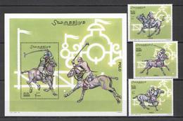 NW1430 2001 SOMALIA SOOMAALIYA SPORTS POLO HORSES #920-922+BL85 MICHEL 29 EURO MNH - Horses