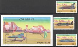 NW1434 2001 SOMALIA SOOMAALIYA ROCKET CARS #860-862+BL75 MICHEL 31 EURO MNH - Cars