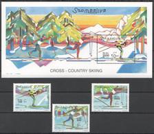 NW1435 2001 SOMALIA SOOMAALIYA CROSS-COUNTRY SKIING #864-866+BL76 MICHEL 40 EURO MNH - Skiing