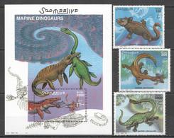 NW1445 2000 SOMALIA SOOMAALIYA MARINE DINOSAURS #843-845+BL71 MICHEL 30 EURO MNH - Prehistorics