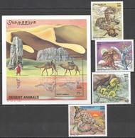 NW1449 2000 SOMALIA SOOMAALIYA DESERT ANIMALS FAUNA #823-6+BL69 MICHEL 29 EURO MNH - Other