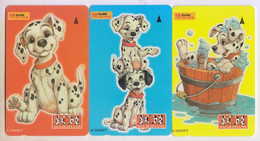 Singapore Old Phonecard Singtel 101 Dalmatians Cartoon Dogs Unused 3 Cards - Fumetti