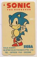 Singapore Old Phonecard Singtel Sonic The Hedgehog Sega Video Game Used - Fumetti