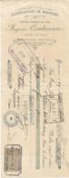 JY  / Facture Ancienne 1903  BEDARIEUX ( 34 )  MANUFACTURE DE BISCOTTES Combescure LAGRASSE Timbre Fiscal - Bedarieux