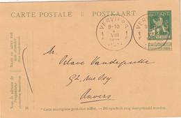 BELGIQUE 1914    ENTIER POSTAL/GANZSACHE/POSTAL CARTE DE VERVIERS - Cartes Postales [1909-34]