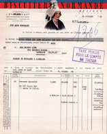 Facture - BISCUITERIE NORMANDE - MEZIDON ... - 1953 - Alimentos