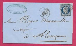 Lettre De Caen Calvados Avec N°14A-1856 - 1849-1876: Klassieke Periode