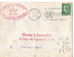 Enveloppe De 1970, Cachet De RENNES, (35), Cachet Rouge Sapeurs-pompiers D'ille Et Vilaine,, Cachet UNICEF, Timbre - Autres