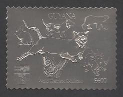 Guyana, 1993, Genova 1992, Cats, Dogs, Harbour, Silver, MNH Perforated, Michel 3979BA - Guyana (1966-...)