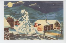 NORVEGE - NORGE - Jolie Carte Fantaisie Paysage Sous La Neige De Joyeux Noël Et Bonne Année (signée) - Norway