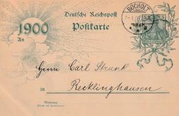 Postkarte Ganzsache Deutsches Reich Bocholt Vom 1.1.1900 - Gebruikt