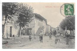 Cpa...Vaux...(Ain)...place De La Grande Rue...animée...1913... - Altri Comuni
