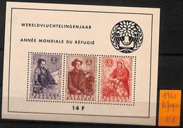 [106933]TB//**/Mnh-c:85e-Belgique 1960 - BL31, Année Mondiale Du Réfugié, Le Bloc, Cote 85 Euros - Vluchtelingen