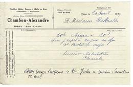 FACTURE-COURRIER- LETTRE : Volaille , Gibier, Beurre Et Oeufs . CHAMBON-ALEXANDRE à Brou . - 1900 – 1949