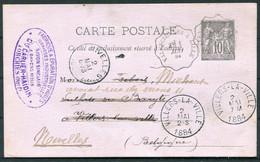 1884 France Carte Postale Stationery Aorchies (Nord) Valenciennes A Lille Railway, Belgium Villers-la-Ville TPO - Cartoline Postali E Su Commissione Privata TSC (ante 1995)