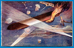 """CPA AK Première Guerre Mondiale Illustrateur André DEGERT 330e Infanterie """"Combat Avions Contre Zeppelin"""" ** Surréalisme - Guerre 1914-18"""