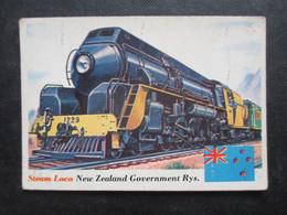 Trading Card - Chromo TOPPS RAILS & SAILS 1955 (V2105) STEAM LOCO (2 Vues) NEW ZEALAND GOVERNMENT RYS. N°18 - Motori