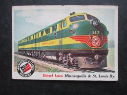 Trading Card - Chromo TOPPS RAILS & SAILS 1955 (V2105) DIESEL LOCO (2 Vues) MINNEAPOLIS & ST. LOUIS Ry. N°21 - Motori