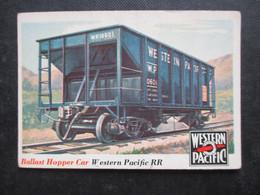 Trading Card - Chromo TOPPS RAILS & SAILS 1955 (V2105) BALLAST HOPPER CAR (2 Vues) Western Pacific RR N°29 - Motori
