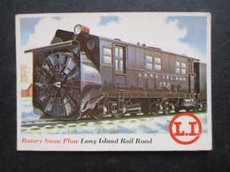 Trading Card - Chromo TOPPS RAILS & SAILS 1955 (V2105) ROTARY SNOW PLOVE (2 Vues) LONG ISLAND RAIL ROAD N°34 - Motori