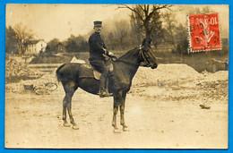 CPA CARTE-PHOTO MILITARIA : 88 REMIREMONT Vosges - Cavalier ** Militaire Cheval Chevaux - Remiremont