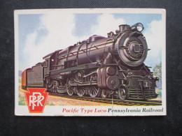 Trading Card - Chromo TOPPS RAILS & SAILS 1955 (V2105) PACIFIC TYPE LOCO (2 Vues) PENNSYLVANIA RAILROAD N°38 - Motori