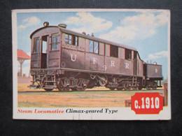 Trading Card - Chromo TOPPS RAILS & SAILS 1955 (V2105) STEAM LOCOMOTIVE (2 Vues) CLEAMAX-GEARED TYPE N°39 - Motori