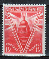 New Zealand 19486 single 1½d  Stamp From The Set Issued To Celebrate Peace In Mounted Mint. - Unused Stamps