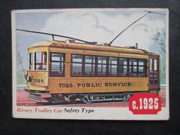 Trading Card - Chromo TOPPS RAILS & SAILS 1955 (V2105) BIRNEY TROLLEY CAR (2 Vues) SAFETY TYPE N°46 - Motori