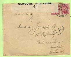 138 Brief PMB 4 -> CADIER EN HEER /MAASTRICHT (NL.), CENSURE MILITAIRE 44 + CENSUUR C.F OVAAL !!(Folkestone)(B3148) - Belgisch Leger